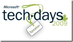 TechDays2009 Speaker Badge