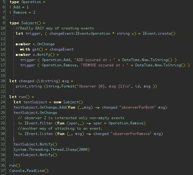 F# Observer Pattern Code