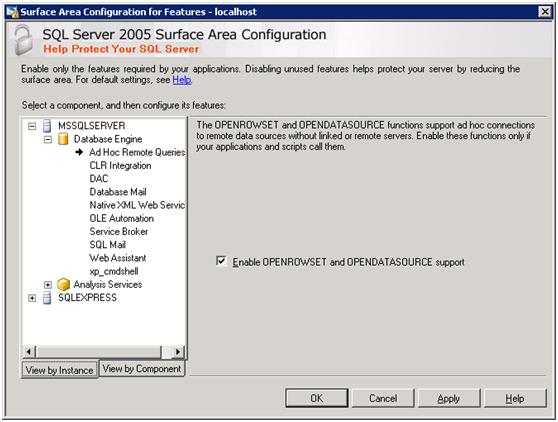 Enable OPENROWSET and OPENDATASOURCE SUPPORT  from the Surface Area Configuration