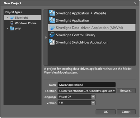 New Silverlight MVVM Project