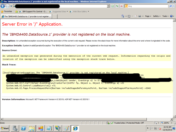 The 'IBMDA400.DataSource.1' provider is not registered on the local machine.