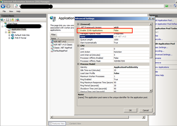 Enable 32 Bit on IIS 7