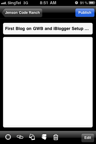 "Tap on ""+"" to create a new blog entry"