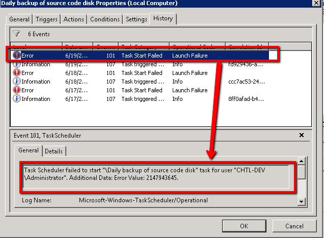 err task b A scheduled task failed to start leaving this message: task scheduler failed to start \fence check rota task for user alan-laptop\alan additional data: error value: 2147943726.