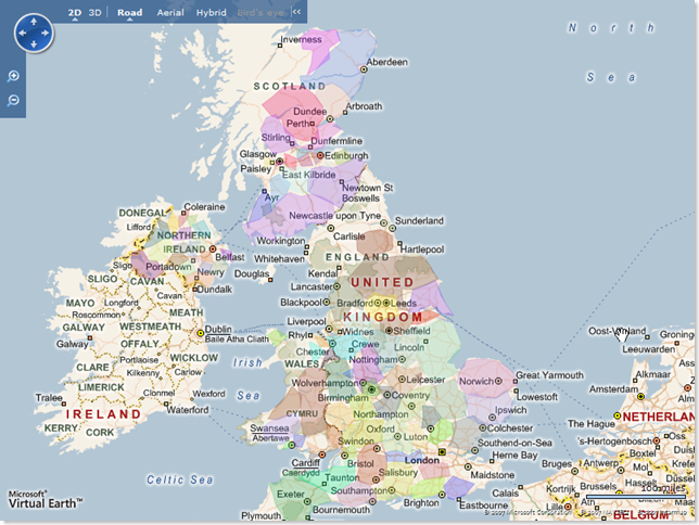 Great Britain's Administrative Areas overlaid on a Virtual Earth map