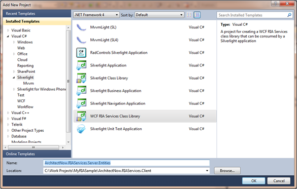 Setting up a new Silverlight 4 Project with WCF RIA Services