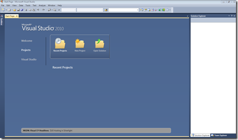 VS2010_home_screen
