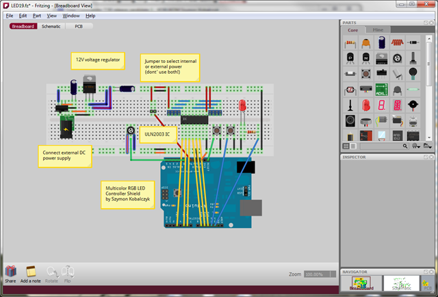 Fritzing - Breadboard view