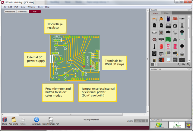Fritzing - PCB view