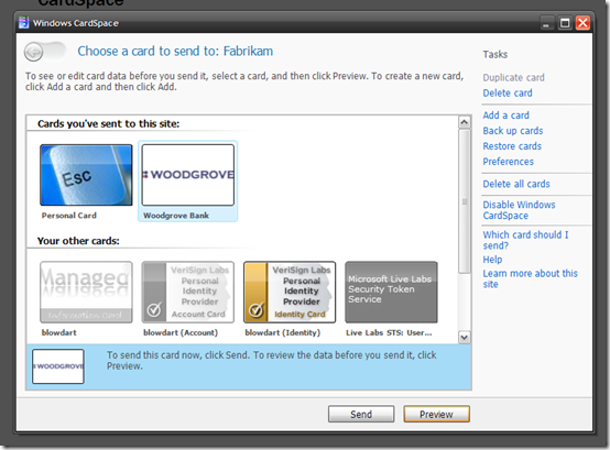Windows CardSpace UI
