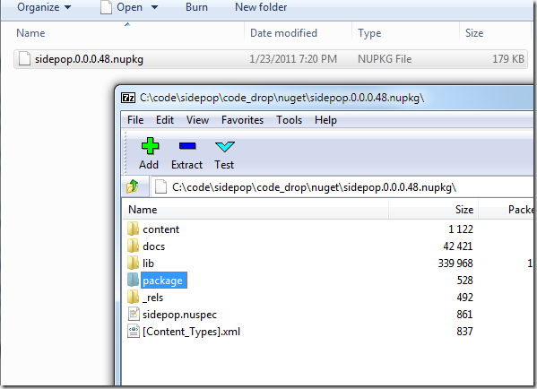 7Zip - showing the package and contents