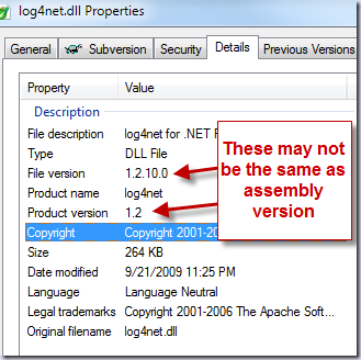 Properties of log4net.dll - file and product version