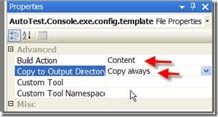 Properties of .template file AFTER