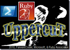 UppercuT Logo. With attributions to Microsoft for PowerShell Logo and Ruby Association for Ruby Logo