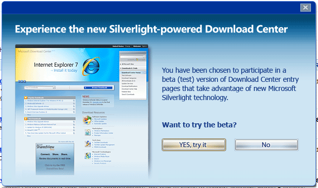 microsoft s download center new beta uses silverlight
