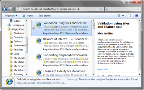 Windows 7 Federated Search sample provider
