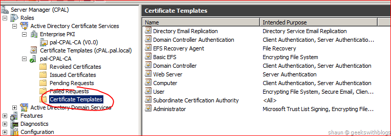 lets create a template and specify some rules click the certificate templates node which under the active directory certificate service node and select a