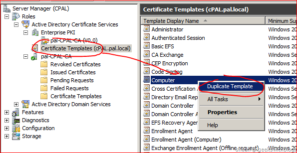 Working with active directory certificate service via c in the template properties window we can see that its possible to define the validity period yadclub