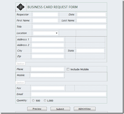 Creating the business card request infopath form image image accmission Gallery