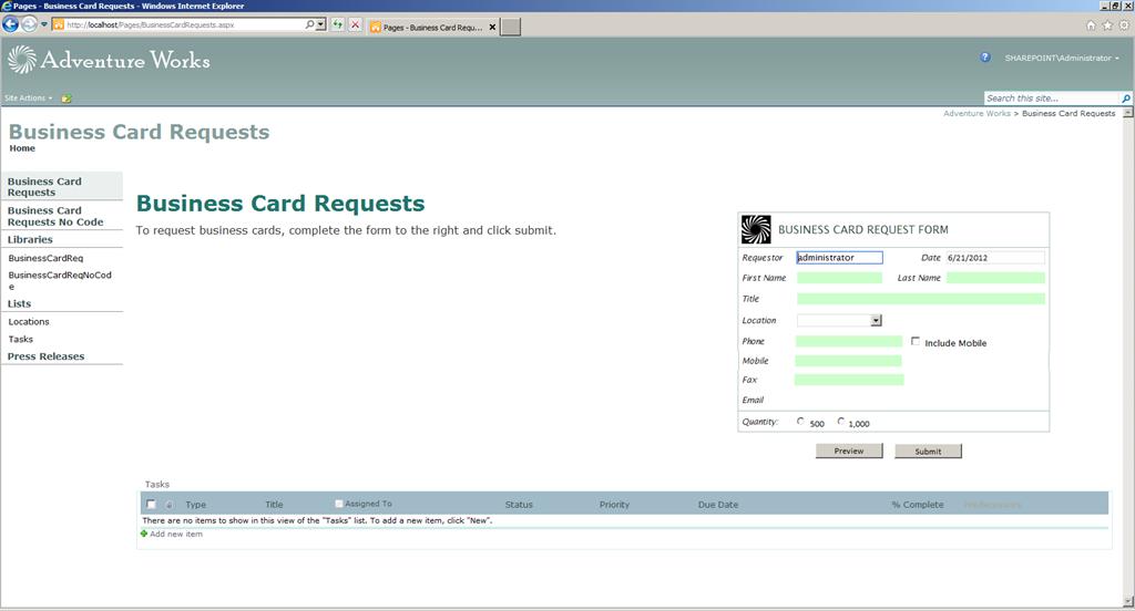 InfoPath 2010 Form Design and Web Part Deployment