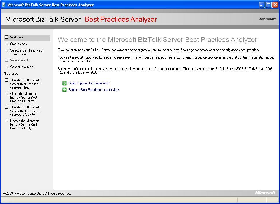 BizTalk Server Best Practice Analyser Welcome Screen