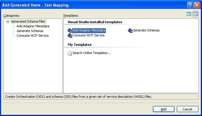 BizTalk 2009 ODBC Adapter Schema Generation - Add