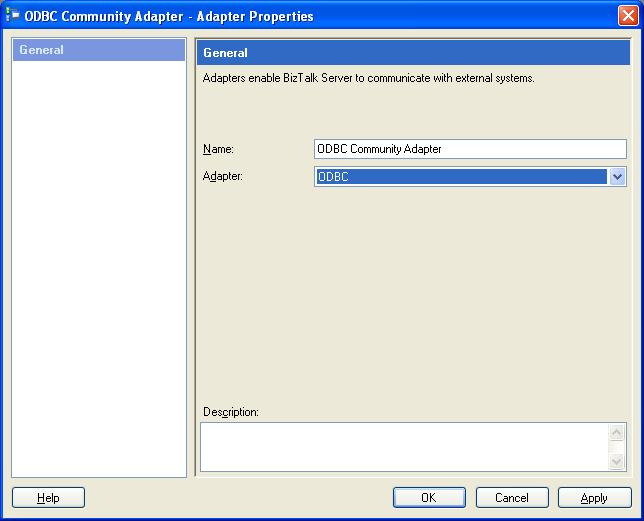 BizTalk 2009 Community ODBC Adapter - Add Adapter Properties