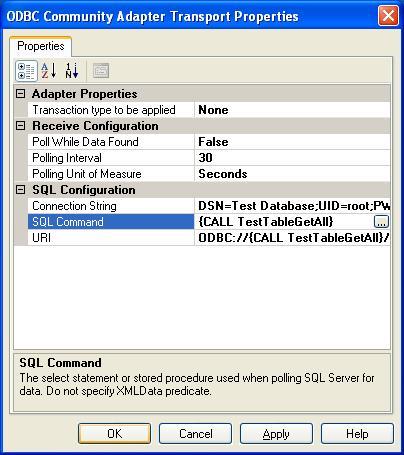 BizTalk 2009 ODBC Adapter Receive Location - Updated Transport Properties