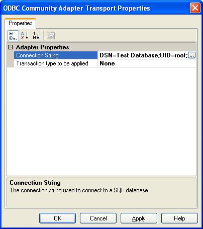 BizTalk 2009 ODBC Adapter Send Port - Updated Transport Properties