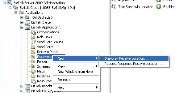 BizTalk 2009 Scheduled Task Adpater Receive Location - Add