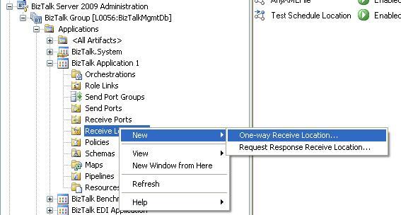 BizTalk 2009 Scheduled Task Adpater Receive Location - Add