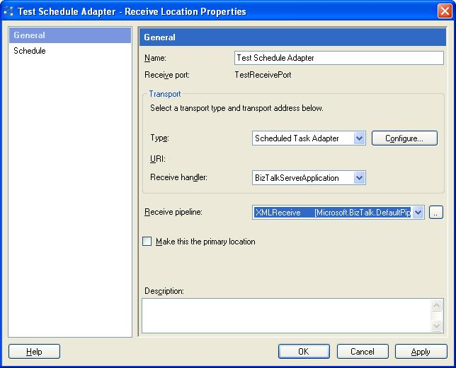 BizTalk 2009 Scheduled Task Adpater Receive Location - Properties