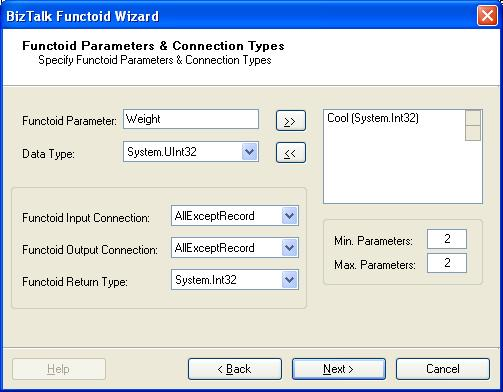BizTalk 2009 Custom Functoid Wizard Functoid Parameters and Connections