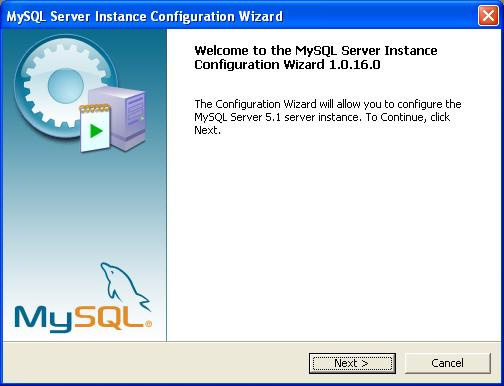 MySQL Configuration - Splash Screen