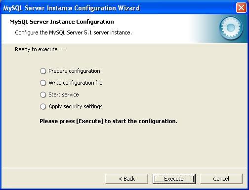 MySQL Configuration - Execute