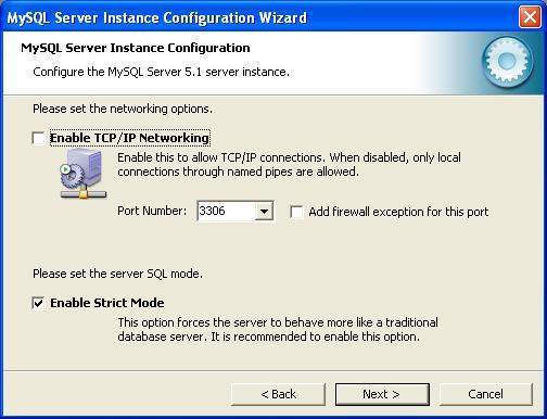 MySQL Configuration - Networking