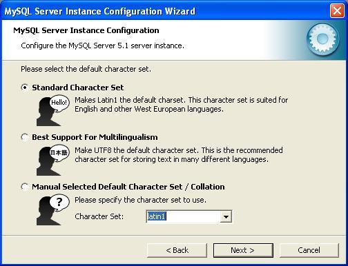 MySQL Configuration - Character Set