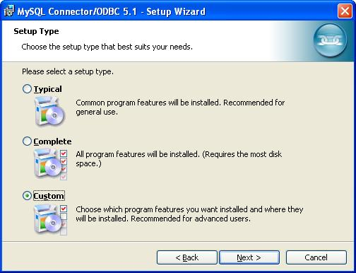 MySQL ODBC Data Connector - Setup Type