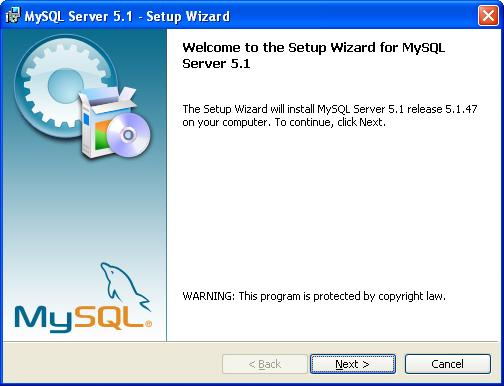 MySQL Installation - Splash Screen
