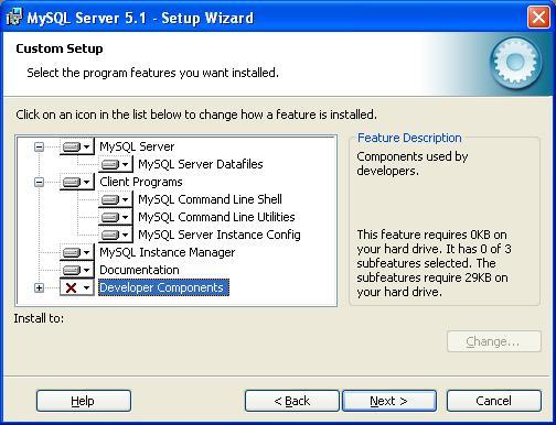 MySQL Installation - Custom Setup