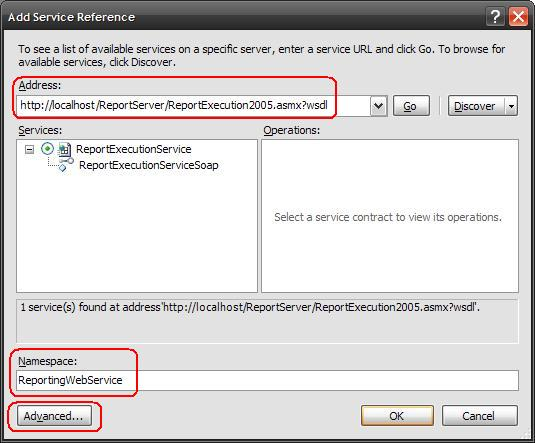 Add Service Reference Dialog and Settings