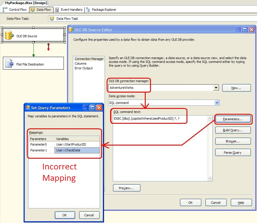 Incorrect Stored Procedure Parameter Mapping