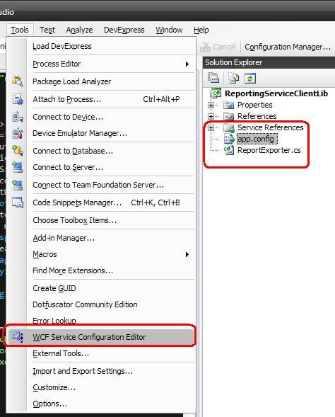 Open WCF Service Configuration Editor