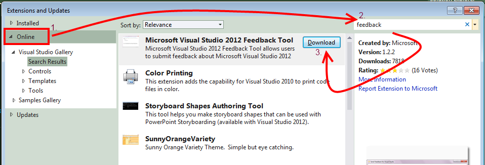 In The Extension And Updates Window Click Online From Left Pane Search Using Text Feedback Download Install Microsoft Visual Studio 2012