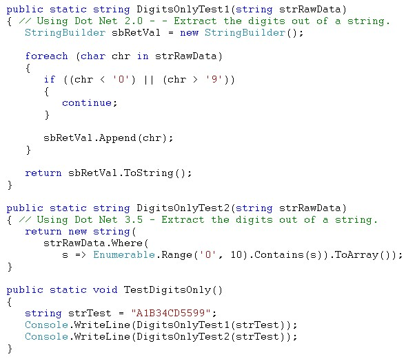 Code showing two methods and a test method