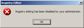 Registry editing has been disabled