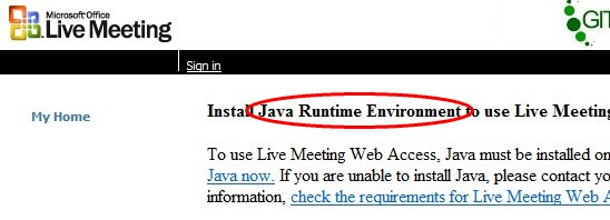 Microsoft Live Meeting Requires Java?