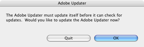Funny dialog box from Adobe Updater software