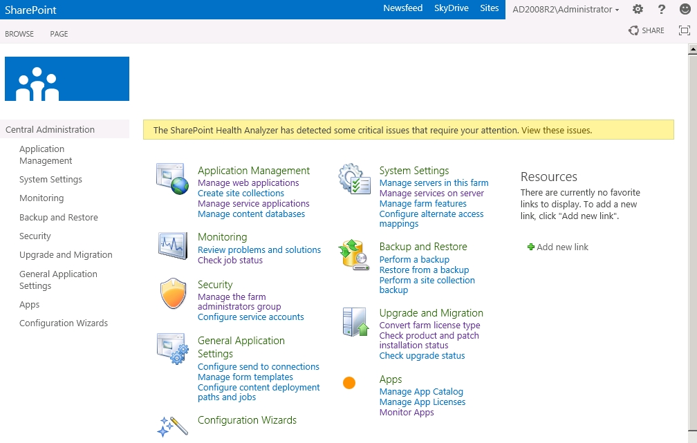 SharePoint 15 Central Administration Site
