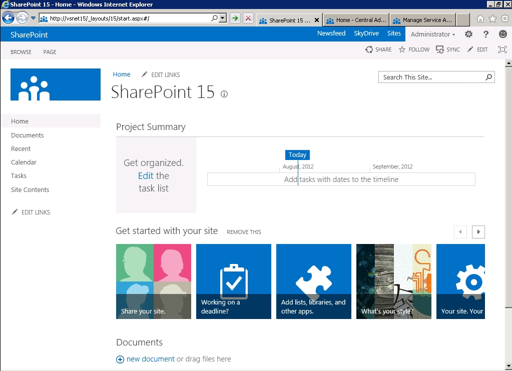 SharePoint 15 Home Page